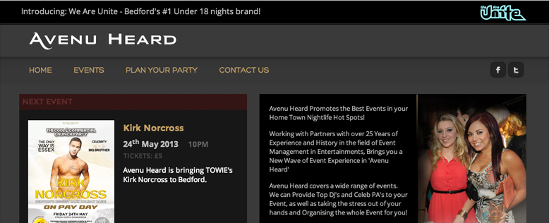 Avenu Heard Nightlife Club Events Website Design & Development