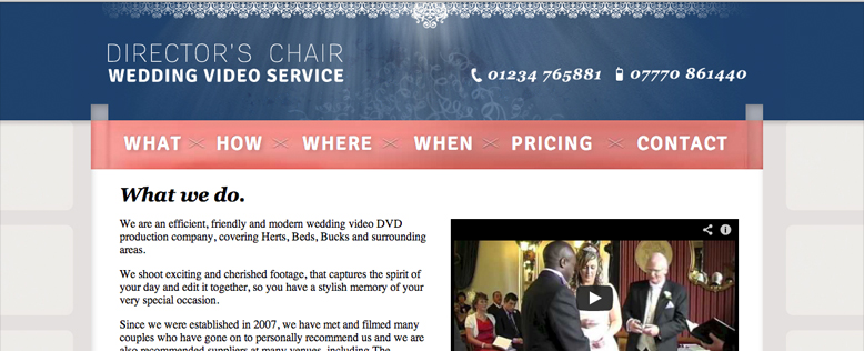 Director's Chair Wedding Video Business Website Design & Development